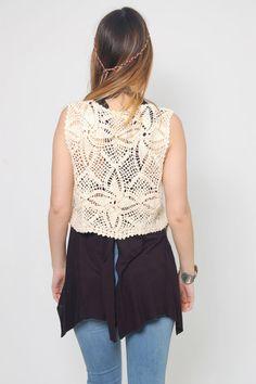 Vintage 70s Cream CROCHET Vest  FLORAL Knit Vest Hippie Vest
