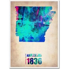 Trademark Fine Art Arkansas Watercolor Map Canvas Art by Naxart, Size: 14 x 19, Multicolor