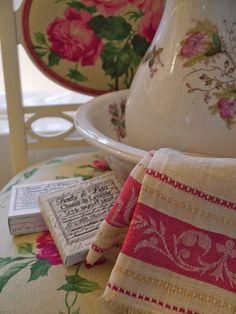 ironstone pitcher and bowl set—color inspiration for bath redo (raspberry and cream)