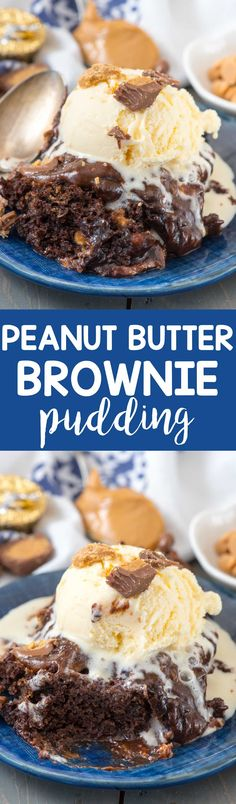 Slow Cooker Peanut Butter Brownie Pudding - chocolate brownie mix and pudding mix cooked in the crockpot with peanut butter and peanut butter cups! This easy indulgent dessert recipe is one everyone loves! via @crazyforcrust