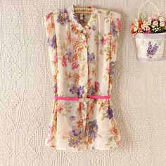 Blusas femininas 2014 casual floral printed shirt women with sleeveless have sashes chiffon blouse ruffled blouses