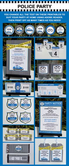Police Birthday Party - INSTANT DOWNLOAD Printable Collection + Invitation - EDITABLE text you personalize with Adobe Reader Listing Stats