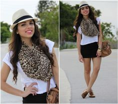 Black mini skirt and leopard scarf