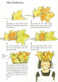 Good explanation (more descriptive) leaf crowns for Mabon Nature Crafts, Fall Crafts, Diy And Crafts, Crafts For Kids, Arts And Crafts, Diy Flower Crown, Leaf Crown, Forest School, Wedding Headband