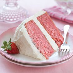 Strawberry Cake with White Chocolate Cream Cheese Frosting - Paula Deen - fresh strawberries, strawberry jello