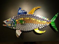 PEACE OUT Tuna Fish Beer Cap & Can Art by BrewArtByBill on Etsy