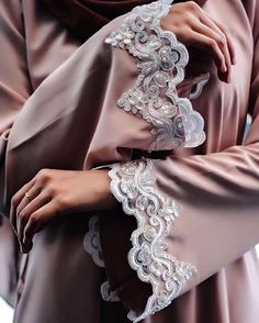 Beige and lace abaya