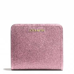 Small Coach wallet in pink glitter fabric