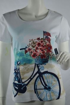 98b3bc325 Karen Scott Knit Top Scoop Neck Short Sleeve Bicycle Flower Flags Shirt  Petite S