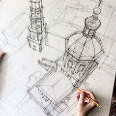 YOUR ART: Architectural Drawing by Adelina Gareeva Construc .-VOTRE ART: Architectural Drawing by Adelina Gareeva Construction perpective aér… YOUR ART: Architectural Drawing by Adelina Gareeva Construction aerial perspective diving - Drawing Sketches, Art Drawings, Drawing Drawing, Drawing Ideas, Basic Drawing, Drawing Projects, Sketch Ideas, Hand Sketch, Architecture Drawings
