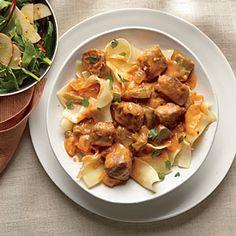 Pork Tenderloin Paprikash with Egg Noodles | CookingLight.com #myplate, #protein, #veggies, #dairy