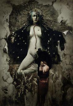 "Santiago Caruso - [ The central figure is a reinterpretation of Jean Delville´ s ""The Idol of Perversity"" ]"