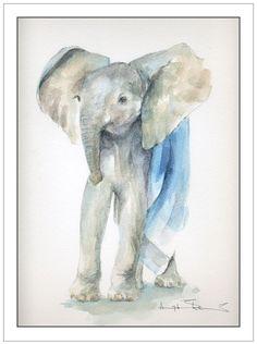 watercolor elephants.