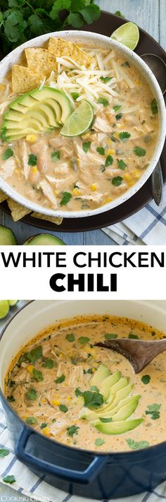 This White Chicken Chili is hearty, warming and comforting. It's a great alterna… This White Chicken Chili is hearty, warming and comforting. It's a great alternative to traditional beef chili and makes a simple, yet completely delicious dinner! Chili Recipes, Soup Recipes, Crockpot Recipes, Chicken Recipes, Dinner Recipes, Cooking Recipes, Cooking Chili, Recipies, White Chicken Chili