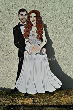 Two Custom Articulated Paper Dolls for Wedding by katyandthecat