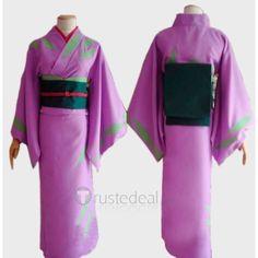 Gintama Silver Soul Okita Mitsuba Lavender Kimono Cosplay Costume ❤ liked on Polyvore featuring costumes, anime, animal halloween costumes, role play costumes, silver halloween costume, purple costume and cosplay halloween costumes