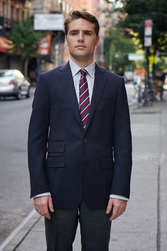 """Southwick for Michael Kuhle """"Caine"""" sportcoat in navy wool hopsack"""