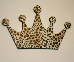 Leopard Princess crown wall decor , Diva wall decor,  Leopard wall decor for girls room on Etsy, $15.00
