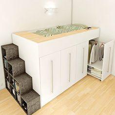 diy loft bed for kids small room ~ diy loft bed . diy loft bed for kids . diy loft bed for adults . diy loft beds for small rooms . diy loft bed for kids how to build . diy loft bed with desk . diy loft bed for kids small room Tiny Spaces, Small Rooms, Small Apartments, Small Beds, Furniture For Small Spaces, Mezzanine Bed, Kids Bunk Beds, Loft Beds, Compact Living
