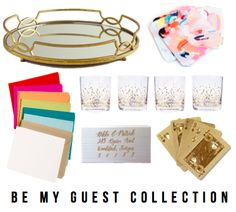 the BE MY GUEST collection: mirror tray, coasters, stationery, confetti tumblers, return address stamp, gold playing cards