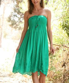 Look what I found on #zulily! Forest Green Shirred Eyelet Convertible Strapless Dress #zulilyfinds