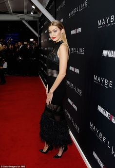 Standing tall: The model looked gorgeous from every angle as she rocked the red carpet...