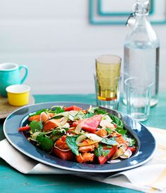 Crisp salmon with mint and pickled watermelon rind salad