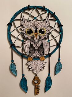 Diy Ribbon, Ribbon Crafts, Paper Crafts, Paper Quilling Designs, Quilling Art, Quilling Ideas, Owl Dream Catcher, Dream Catchers, Quilling Techniques