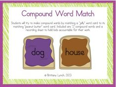 FREE - Compound Words Matching Game