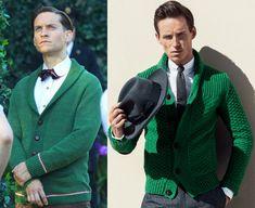 """Tobey Maguire #Versus Eddie Redmayne... y la chaqueta de punto masculina, una prenda atemporal que mantiene su reinado dentro del mundo de la moda.  En la primera imagen, el actor Tobey Maguire como Nick Carraway en la película """"El gran Gatsby"""" (""""The Great Gatsby"""". 2013), cuyo vestuario ambientado en los años 20 e ideado por Catherine Martin, logró el Oscar en el año 2014. En la segunda instantánea, el actor británico Eddie Redmayne posando para la revista """"GQ"""" (2013) con un atuendo similar…"""