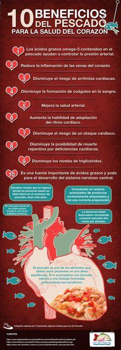 10 beneficios del pescado para la salud del corazón #infografia