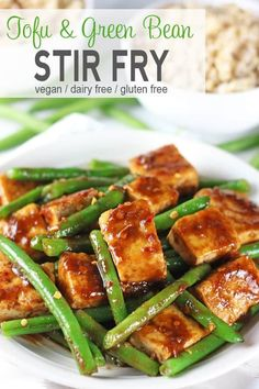 This Tofu Green Bean Stir Fry is easy to make, healthy, and delicious. It's vegan, gluten-free, and doesn't contain MSG. Have the takeout without the guilt! Whole Food Recipes, Cooking Recipes, Healthy Recipes, Vegetarian Recipes Tofu, Easy Tofu Recipes, Tofu Dinner Recipes, Microwave Recipes, Recipes With Tofu Stir Fry, Stir Fry With Tofu