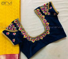Stunning deep blue color designer blouse with floret lata design hand embroidery thread work on neckline and back of blouse. Cutwork Blouse Designs, Kids Blouse Designs, Wedding Saree Blouse Designs, Hand Work Blouse Design, Pattu Saree Blouse Designs, Simple Blouse Designs, Stylish Blouse Design, Blouse Neck Designs, Hand Designs