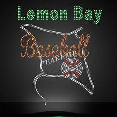 Hotfix Lemon Bay Baseball Rhinestone Transfer Iron on Bling - Peakemb Rhinestone Heels, Rhinestone Transfers, Green Materials, Iron On Transfer, Lemon, Bling, Baseball, Heat Press, Rhinestones