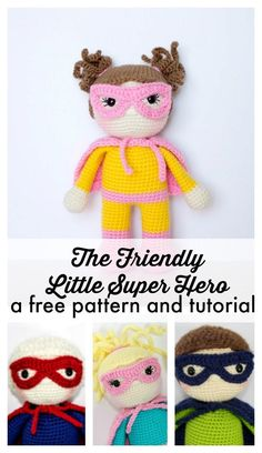 Crochet Super Hero Free Pattern. This 10 inch crochet doll is perfect to make for the super hero fan in your life! Or crochet super hero dolls to donate to kids who are real heroes. Full pattern and video tutorials to help you make this beginner amigurumi pattern! #crochetsuperhero #crochetdoll #amigurumi #crochet
