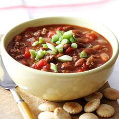 In-Your-Sleep Chili~~Feeling chilly this fall? Try our warm and delicious vegetable chili complete with ground beef and hearty beans. This easy, no-mess dish makes preparing dinner a breeze.