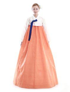 Custom Made Faux Silk Orange White Evening Party Hanbok Korean Dress