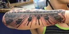 Audio dj table top tattoo// Music Tattoo Ideas// Forearm Tattoo Ideas// Black and Grey Tattoos
