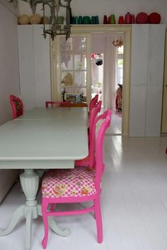 mexican country style painted dining table and chairs >> this