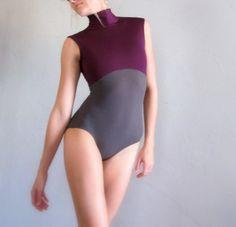 Collar Neck Plumb Purple and Grey Handmade Ballet Leotard