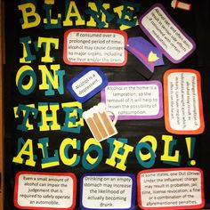 Blame it on the Alcohol (Alcohol Awareness) Bulletin Board Alcohol Bulletin Board, World Bulletin Board, Health Bulletin Boards, College Bulletin Boards, November Bulletin Boards, Summer Bulletin Boards, Halloween Bulletin Boards, Reading Bulletin Boards, Preschool Bulletin Boards