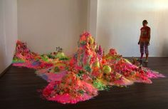 Australian artistsNicole Andrijevic and Tanya Schultz, also known as Pip & Pop, made enormous fantasy landscapes using brightly colored candy. You can view more pictures at the link.    Artists' Website -via MyModernMet.