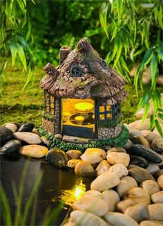 A View in The Village Miniature Fairy Garden Solar Lighted Fairy Cottage