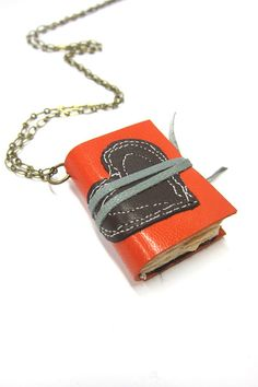 Orange Leather Book Necklace with Brown Heart by Andrea Kohler (Nicopapergoods)
