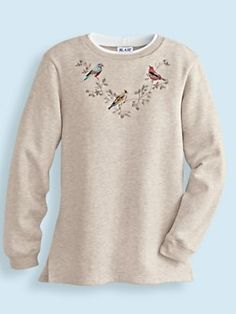3d559914c58 natural heather birds Embroidered Tunic