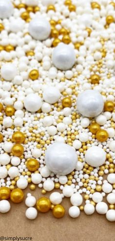 White and Gold Pearl sprinkle mix! Perfect for any classy event or holiday! #cupcake#cupcakes#decoratedcupcakes#bluesprinkles#sprinkles#sprinklemix#simplysucresprinkles#customsprinkles#frozencupcakes#frozencupcake#christmascupcakes#christmascupcake#christmasdesserts#winterwonderland#wintercupcakes#weddingcupcakes gold sprinkles pearl sprinkles sprinkle pearls sprinkles cake birthday sprinkles wedding cake wedding cake sprinkles christmas cake chistmas cake chritmas cakes Sprinkle Wedding Cakes, Cake Wedding, Cake Birthday, Gold Pearl, Christmas Desserts, Sprinkles, Cupcakes, Jar, Classy