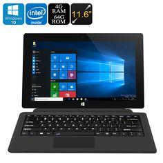 Jumper EZpad 5S Tablet PC - Licensed Windows 10, Intel Cherry Trail CPU, 4GB RAM, Detachable Keyboard, Wi-Fi, 11.6 Inch Screen