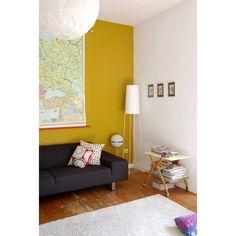mustard and grey living room mustard walls living room Yellow Walls Living Room, Yellow Accent Walls, Light Grey Walls, Living Room Colors, Living Room Grey, Home And Living, White Walls, Yellow Kitchen Walls, Kitchen Grey