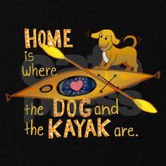 Dog and Kayak Hoodie by moonwink