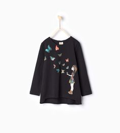 Image 1 of Organic cotton lips and stars printed T-shirt from Zara